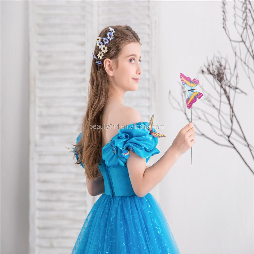 2018 Royal Blue Flower Girl Dresses for Wedding Cinderella Girls Dress Princess Children Party Ball Gown First Communion Dress