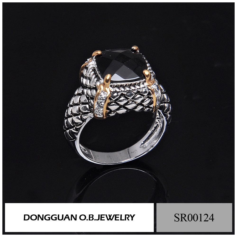 Fashion jewelry new styles elegance black gemstone ring in silver