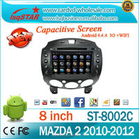 Pure android 4.4 quad core car audio for mazda 2 navigator system wifi 3g 4g tv HD1024*600
