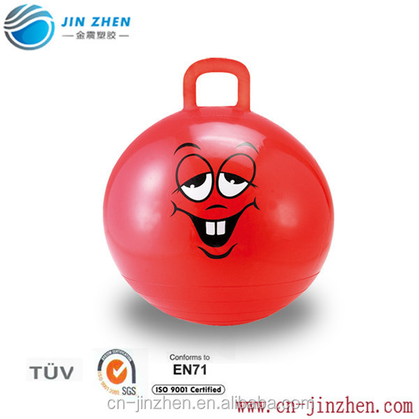 smiling face pattern infaltable hippity jumping handle ball toy for child
