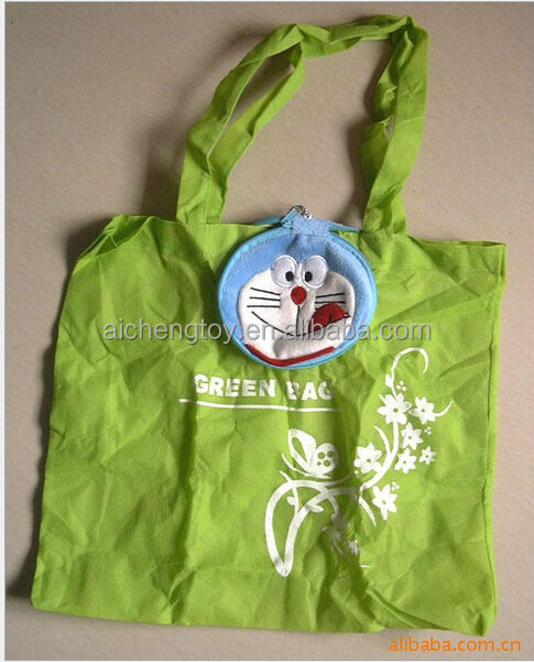 2014 new arrival foldable plush toy with non-woven shopping bag for promotion