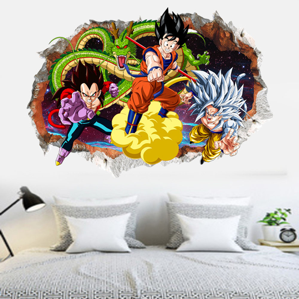 3D removable dragon ball wall decals kids room