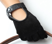 Suede fashion winter custom cycling gloves ladies car driving gloves with belt design