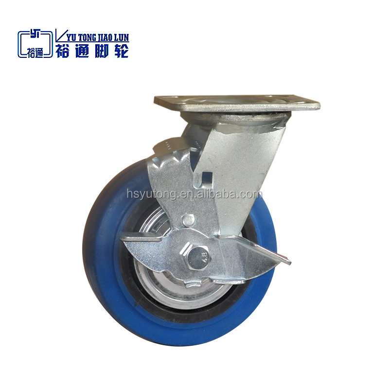 4, 5, 6, 8 inches Blue elastic rubber caster wheel, rubber brake swivel casters