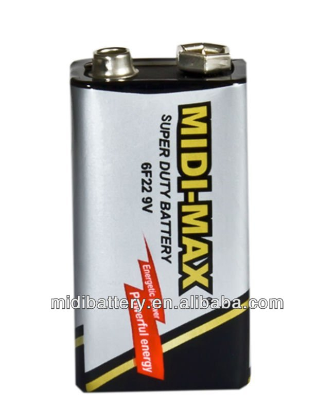 9V 6F22 carbon silver zinc dry cell batteries