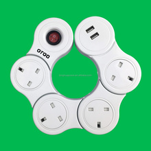UK power strip with swith UK 4 ways extention socket power strip white color, Surge Protector for UK/HK/UAE/Dubai,
