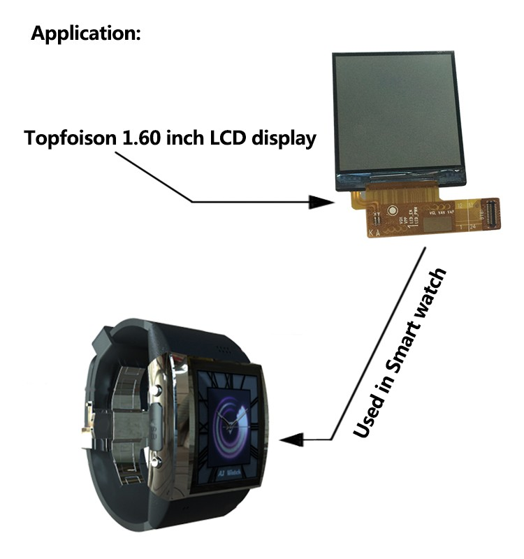 [In Stock]Topfoison paper thin display 1.6 inch 240*240 Transflective tft lcd watch lcd display for E bike