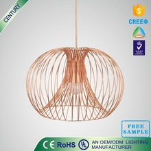 Free sample CE UL E27 5W metal copper rustic pendant light