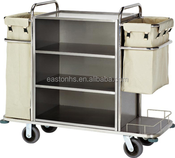 Best stainless steel hotel housekeeping cart hotel room for Hotel room service cart