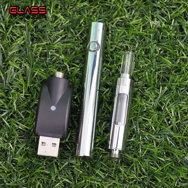 Patent dican cbd glass e cigarette cartridge 510 wickless glass tip metal atomizer cbd silver vape pen