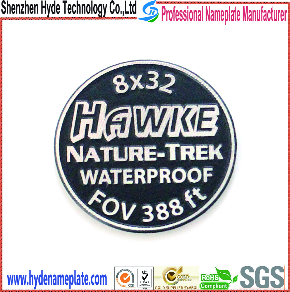 custom design round aluminum nameplate label stickers,cold extrusion logo stickers