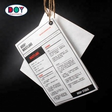 White Custom Screen Printed Tyvek Paper Washing Care Instruction Labels Hang Tags for Shoe and Cloth