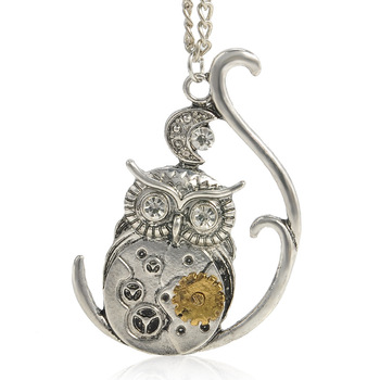 steampunk necklace animal mechanical gear pendant necklace vintage owl necklace jewelry