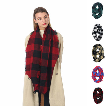 Wholesale Red Plaid Cashmere Christmas Infinity Scarves