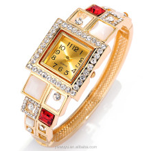 Square Analog Opal Gold Bangle Quartz Ladies Watches Online Shopping Waterproof