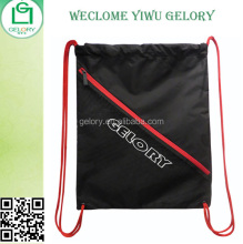 Drawstring rucksack polyester Back Sack Pack with Mesh zipper pocket reinforcement on corners