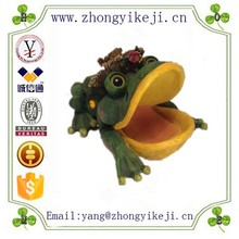 factory custom made novelty large mouth resin frog figurine animal soap holder