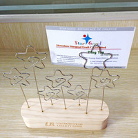 logo printing on wooden base metal clips name card holder