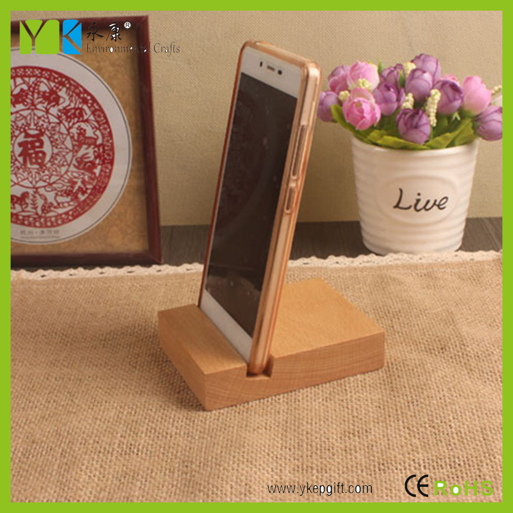 Eco friendly innovative wooden crafts square wooden hand mobile phone holder