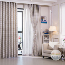 Ready made polyester jacquard chenille patterned curtain panels with plain voile sheer fabric online