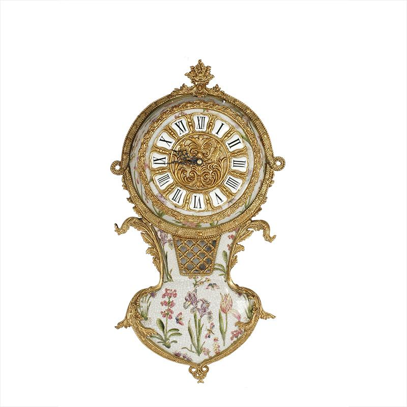 European Antique Crafts Table Bronze Clocks Luxury Brass Figurine wall clock