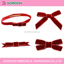 red velvet gift packaging bow,velvet bow,stitching velvet ribbon packing bow
