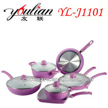 BSCI ADUIT 11PCS Aluminum Ceramic Cookware Set & Walmart Supplierwith durable coating interior & low price with high quality