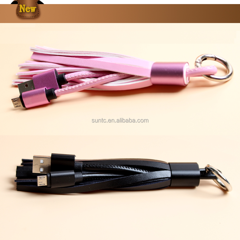 Leather Tassel Micro USB Cable Metal Ring Key Chain Charging Data Cord Charger Cable for Samsung Mobile Phones