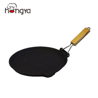Removable Wood Handle Round Shaped Preseasoned Cast Iron Grill Pan