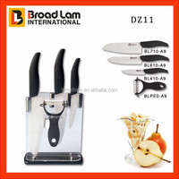 3pcs Perfect Kitchen Accessories Ceramic Knife set+peeler +chopping plasitc board in acrylic knife stand