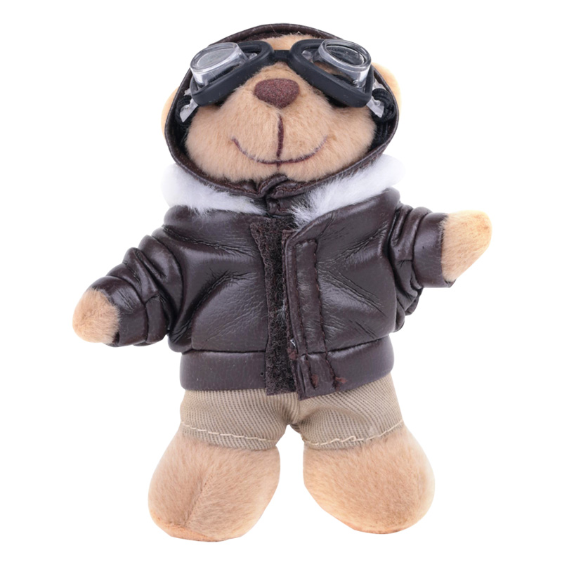 CE promotional cheap custom make stuffed plush cartoon pilot teddy bear toys keychain