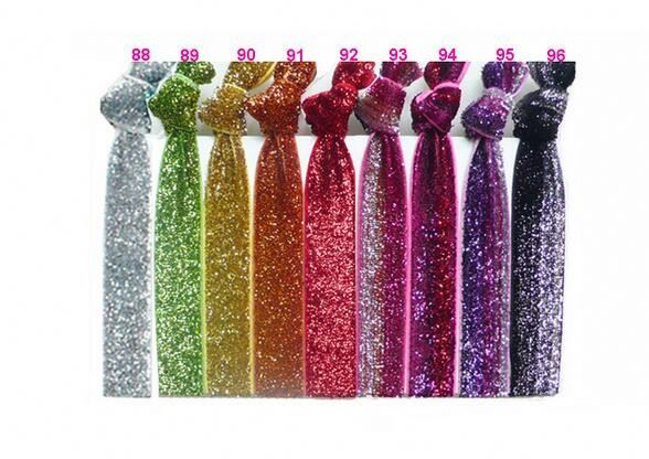 Womens Kids Girls Glitter Elastic Bracelets Hair Wrist Bands Ties