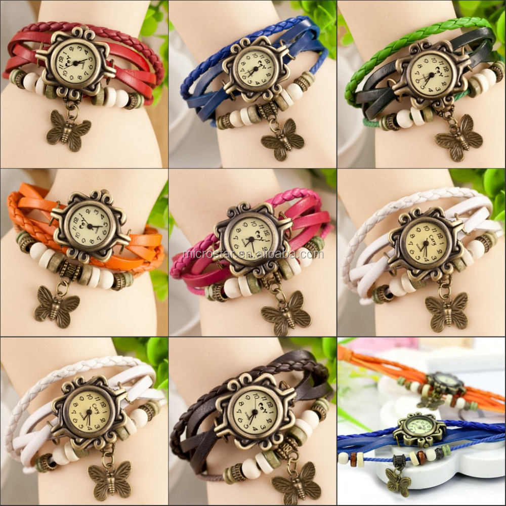 In Stock High Quality Women Leather Vintage Watches butterfly/Eiffel Tower Pendant Bracelet Wrist watches