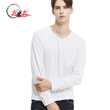 2017 Leisure men round collar long sleeve plain cotton white men t shirt