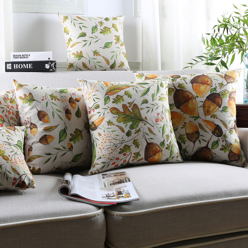 cotton linen Plain Autumn leaves and Nut Sofa Cushion Cover Leaf Printed Cushioning