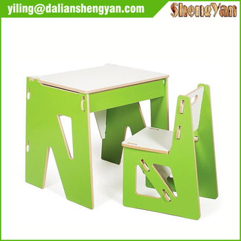 Modern Wooden Flat Pack Furniture Kids Study Table Chair