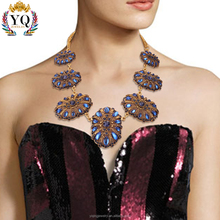NYQ-00781 2017 latest design charm alloy gold plated luxury Blue/white Diamond rhinestone necklace