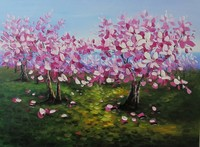 Thick oil painting pictures pink flower tree
