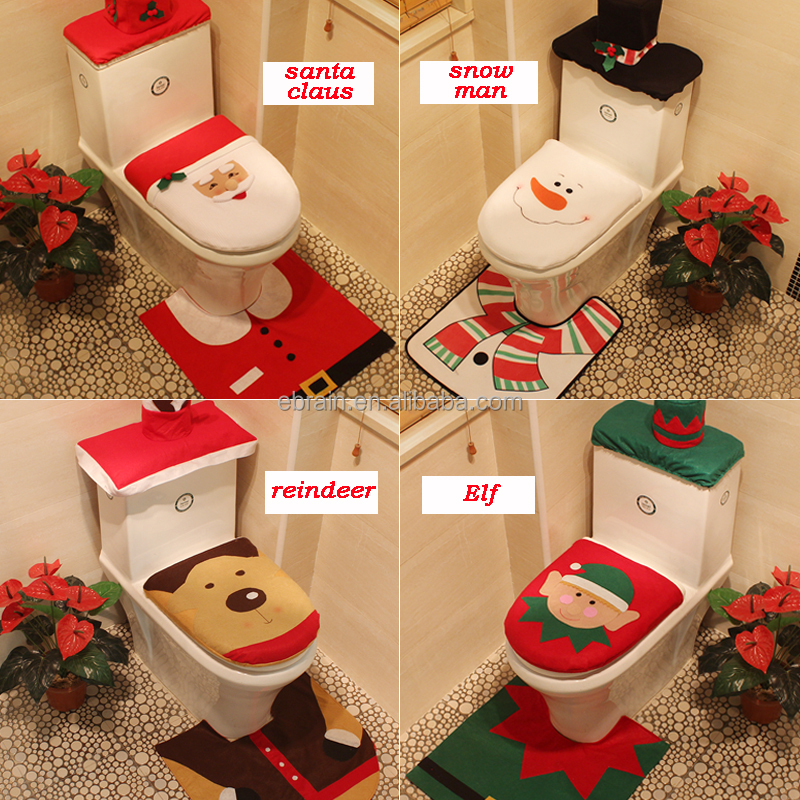 3 pcs Fancy Santa Christmas Toilet Seat Cover and Rug Bathroom Set Christmas <strong>Decorations</strong> 2017