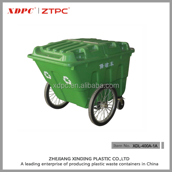 Plastic 400L waste recycle garbage container cart