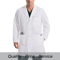 WU-K100 white hospital workwear uniform unisex cotton lab coat