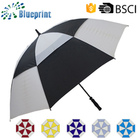 Manual Straight Auto Logo Design Fiberglass Air Vent Golf Umbrella