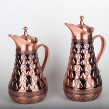 Wholesale turkish 0.5L and 1.0L glass liner gift set brass copper colored tea pot set arabic with handle