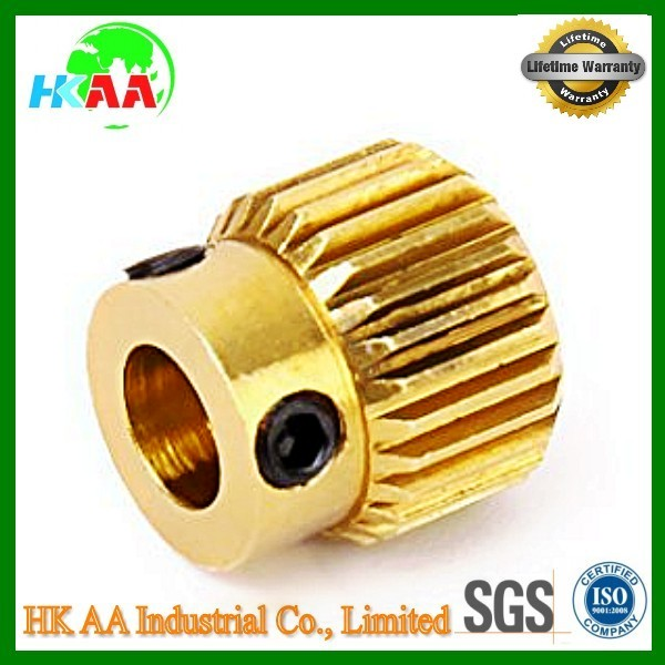 Precision 3D printer extruder gear, OEM brass extruder driving gear for 3d printer