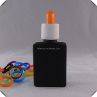 Frosted black empty dropper perfume glass bottle 30ml with colorful cap