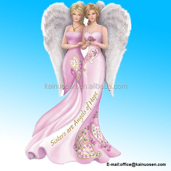 Resin Breast Cancer Awareness Figurine: Sisters are Angels Of Hope