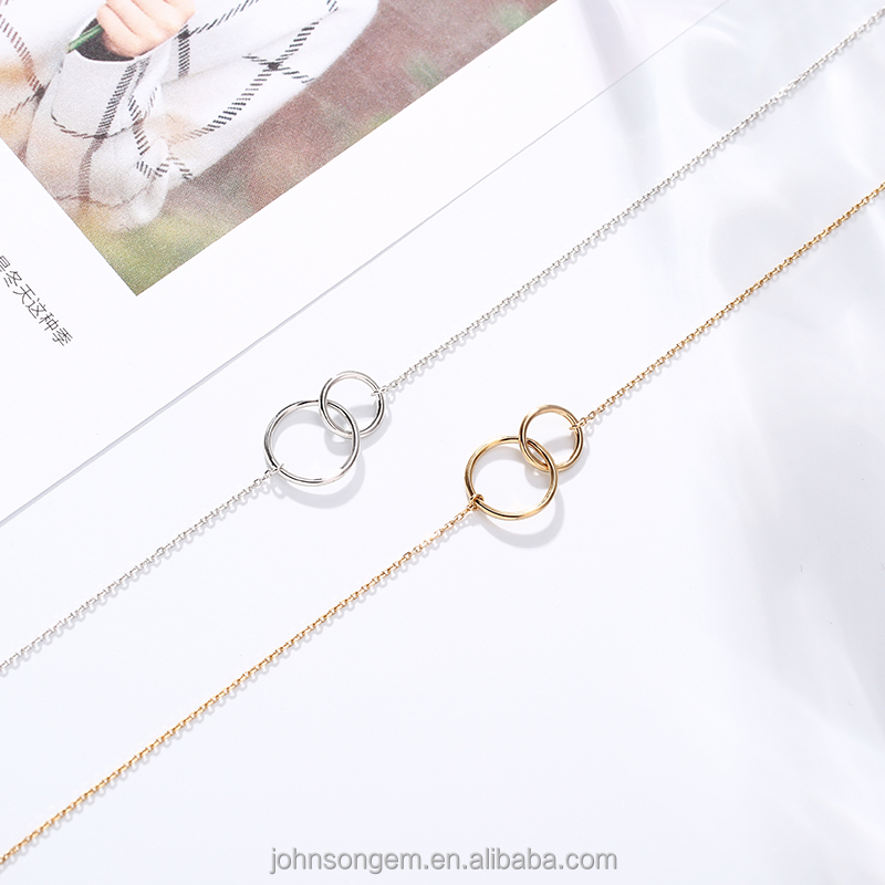Best seller 2018 circle geometric <strong>necklace</strong>, indonesia silver jewelry round shape double rings pendant <strong>necklace</strong>