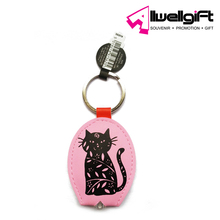 Wholesale Giveaway Gifts Promotional Product Custom Logo Kitten Pink LED Light Keyring
