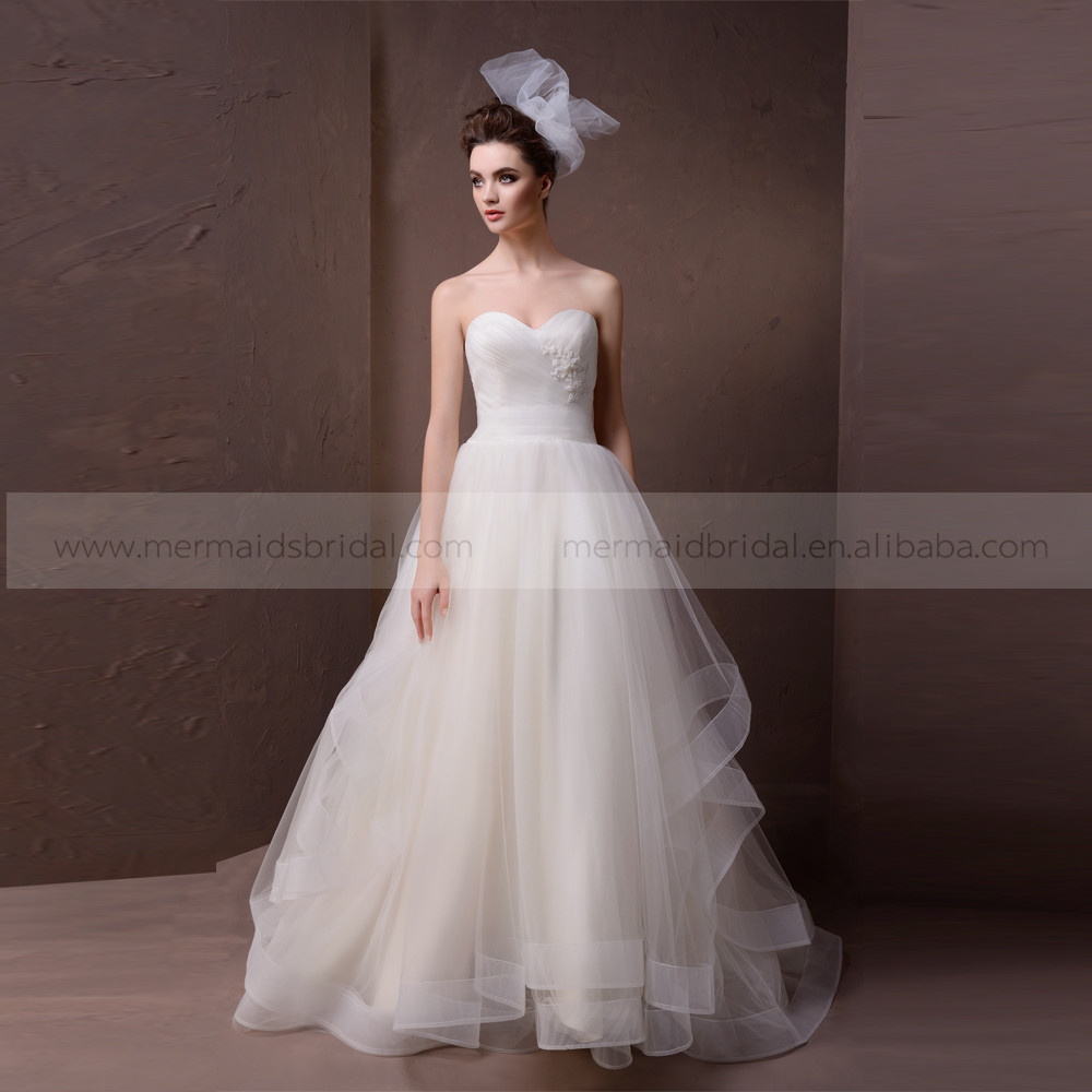 Elegant a line heart shape pleating organza wedding dress for Heart shaped wedding dress