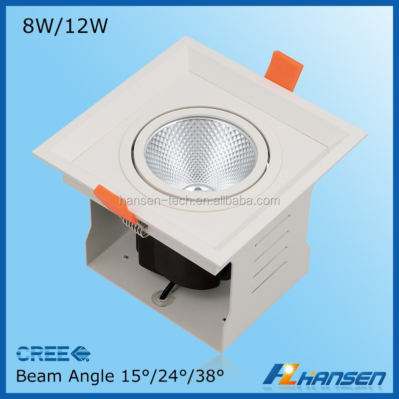12W Square Grille Led Light Fixture Indoor Lamp for Showroom Jewelry Supermarket Lighting